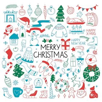 Handgetekende kleurenset van merry christmas element bell bal snoep engel sneeuwpop boom