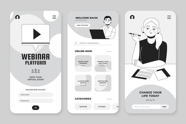 Handgetekende kleurloze apps-collectie voor smartphone