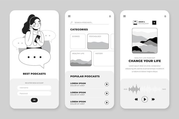 Handgetekende kleurloze apps-collectie
