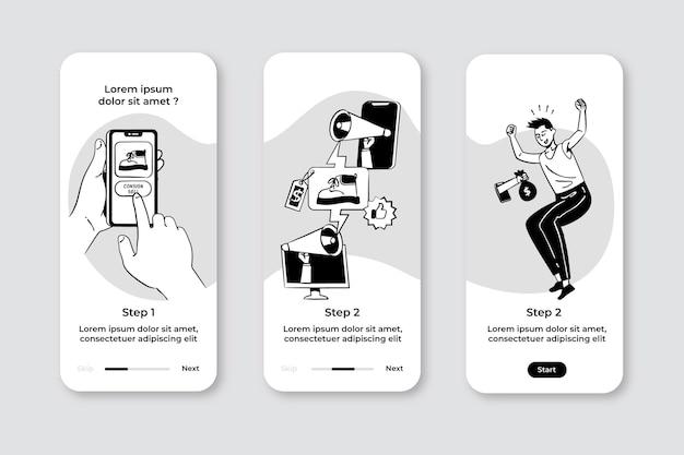 Handgetekende kleurloze apps in plat design