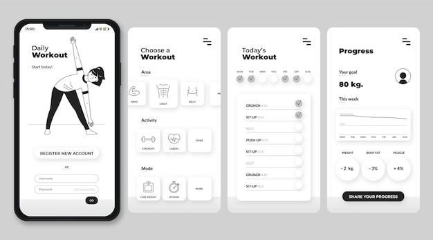 Handgetekende kleurloze apps