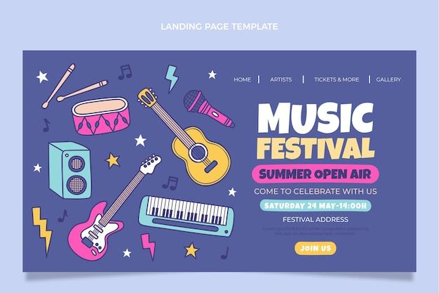 Handgetekende kleurrijke bestemmingspagina voor muziekfestivals
