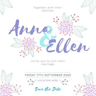 Handgetekende kleurrijke bruiloft uitnodiging thema