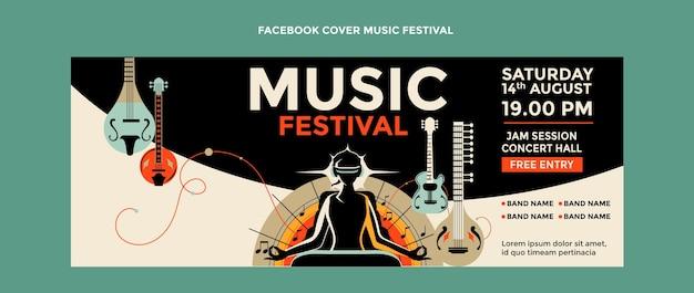 Handgetekende kleurrijke muziekfestival facebook cover