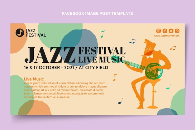 Handgetekende kleurrijke muziekfestival facebook post