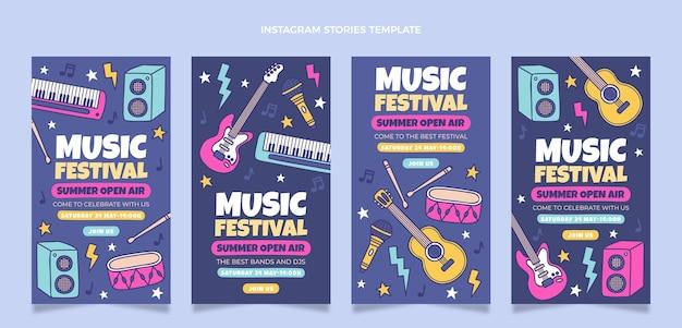 Handgetekende kleurrijke muziekfestival ig verhalen