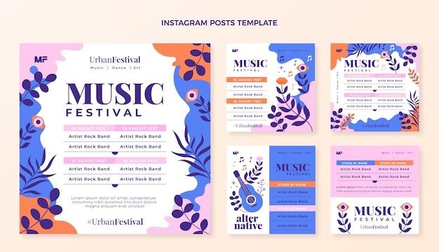 Handgetekende kleurrijke muziekfestival instagram-berichten