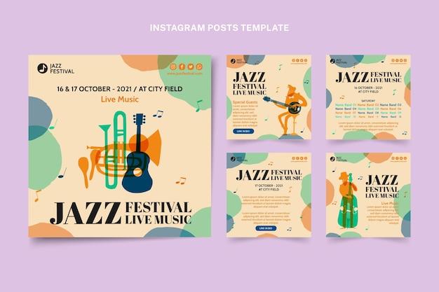 Handgetekende kleurrijke muziekfestival instagram post