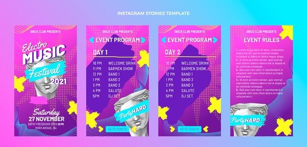 Handgetekende kleurrijke muziekfestival instagramverhalen