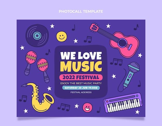 Handgetekende kleurrijke muziekfestival photocall