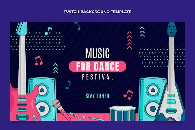 Handgetekende kleurrijke muziekfestival twitch achtergrond