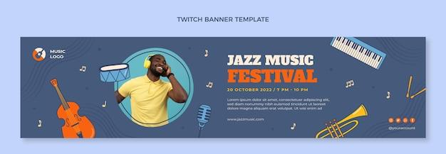 Handgetekende kleurrijke muziekfestival twitch banner