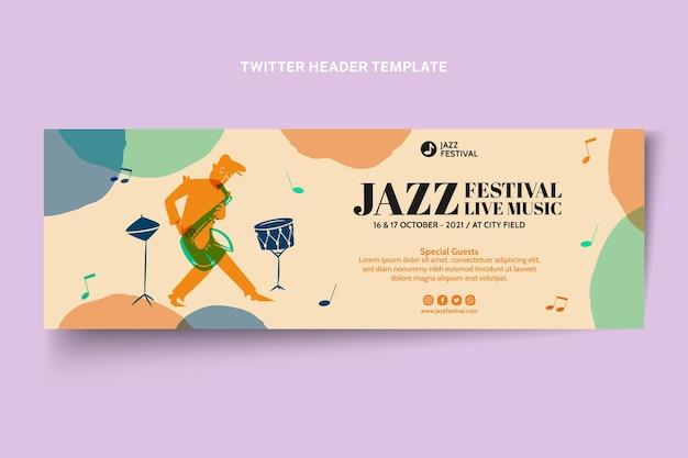 Handgetekende kleurrijke muziekfestival twitter header