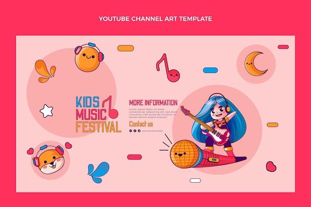 Handgetekende kleurrijke muziekfestival youtube-kanaal