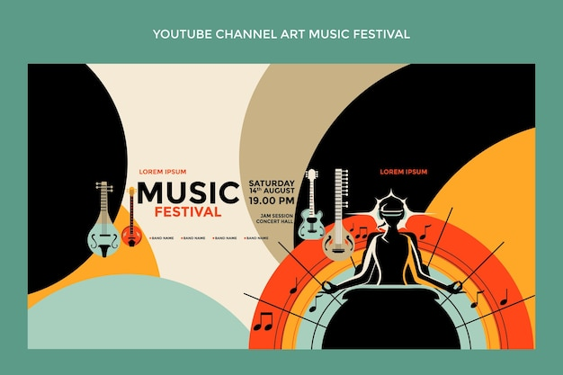 Handgetekende kleurrijke muziekfestival youtube-kanaalkunst