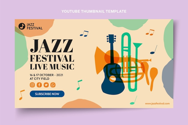 Handgetekende kleurrijke muziekfestival youtube thumbnail Gratis Vector