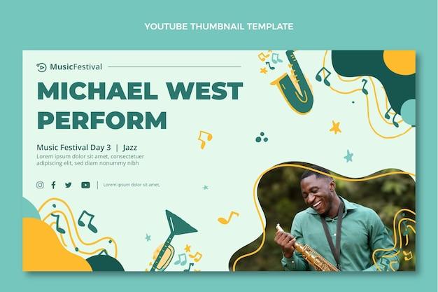 Handgetekende kleurrijke muziekfestival youtube thumbnail