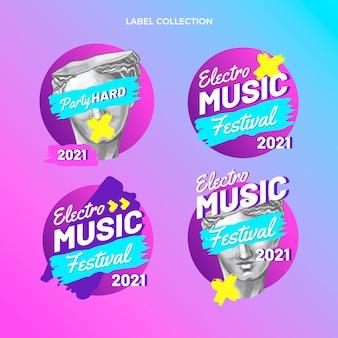 Handgetekende kleurrijke muziekfestivallabels