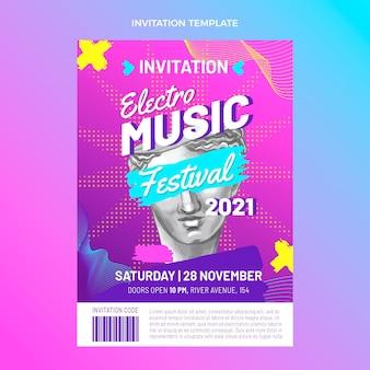 Handgetekende kleurrijke muziekfestivaluitnodiging