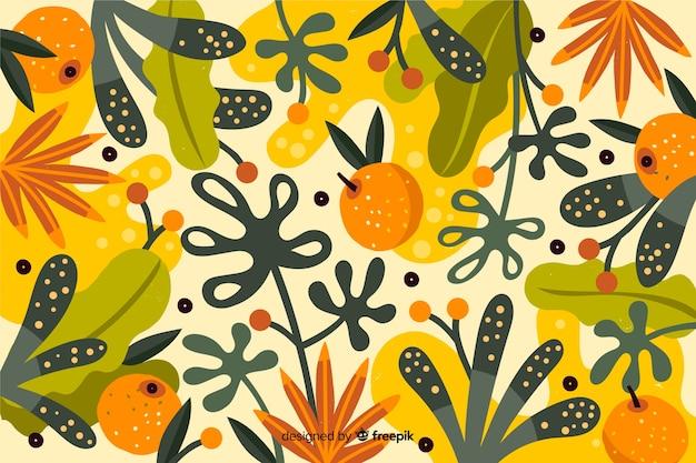 Handgetekende kleurrijke natuur behang
