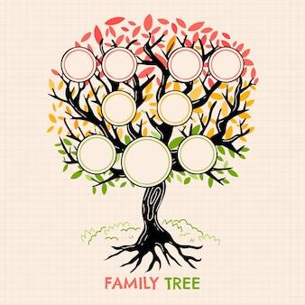 Handgetekende kleurrijke stamboom