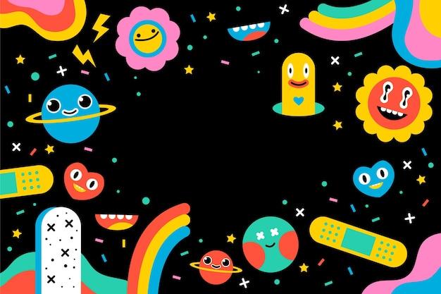 Handgetekende kleurrijke trendy cartoonachtergrond