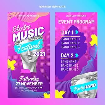 Handgetekende kleurrijke verticale banners voor muziekfestivals