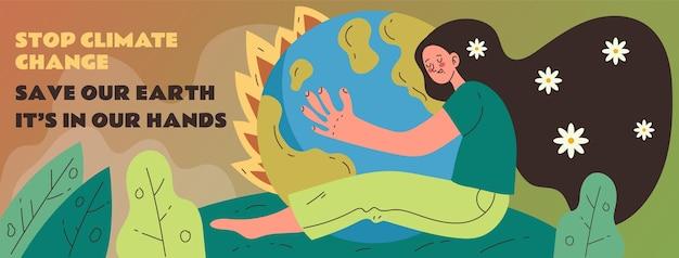 Handgetekende klimaatverandering facebook cover