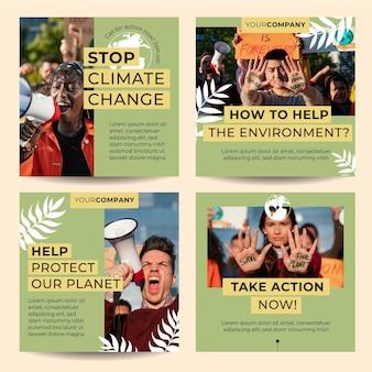 Handgetekende klimaatverandering instagram-berichten