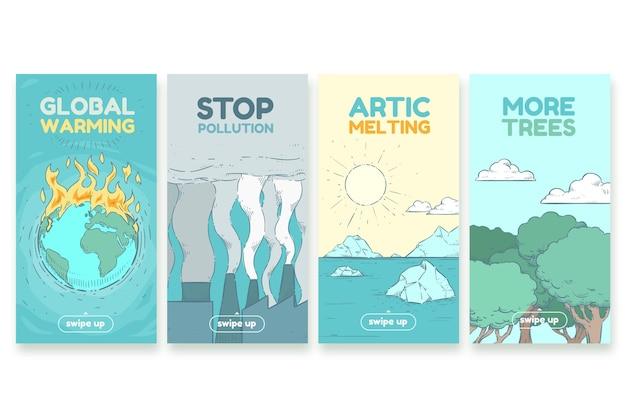 Handgetekende klimaatverandering instagram verhalencollectie