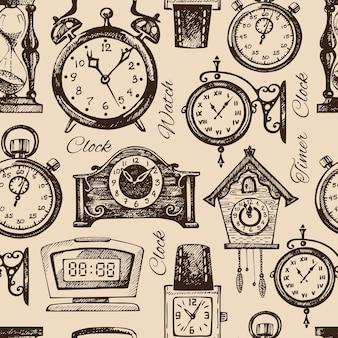 Handgetekende klokken en horloges. vintage hand getrokken schets naadloze patroon. vector illustratie