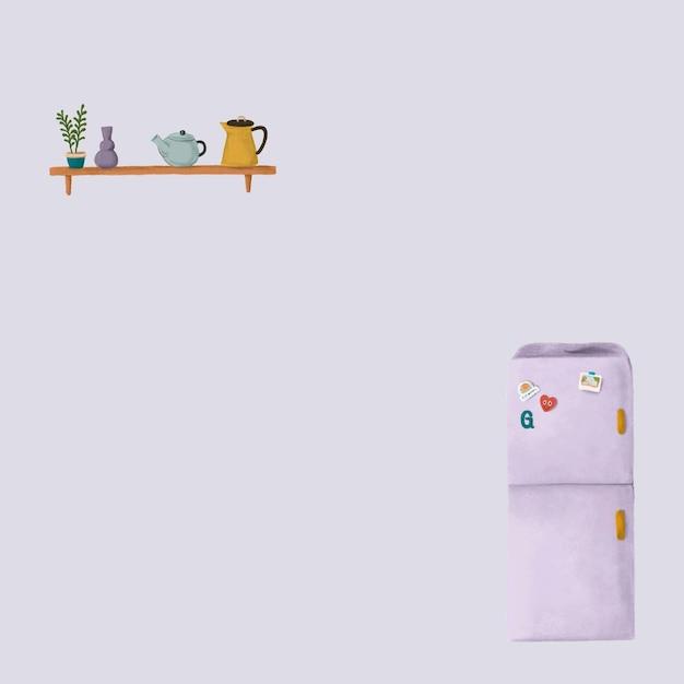 Handgetekende koelkast achtergrond vector schattige tekening voor sociale media