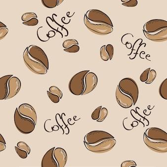 Handgetekende koffiebonen naadloos patroon - vectorillustratie