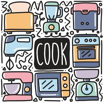Handgetekende kok apparatuur doodle art design element illustratie