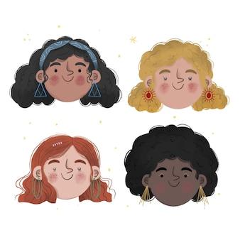Handgetekende krullende haartypes