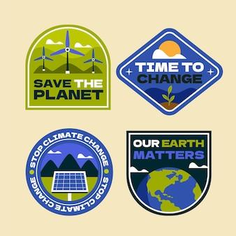 Handgetekende labelcollectie voor klimaatverandering