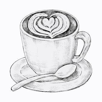 Handgetekende latte art-drank