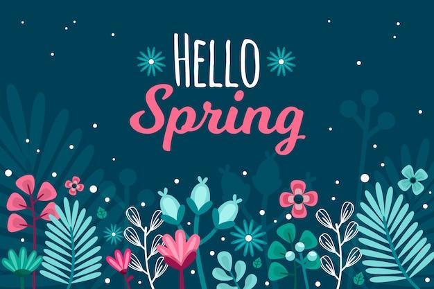 Handgetekende lente behang concept