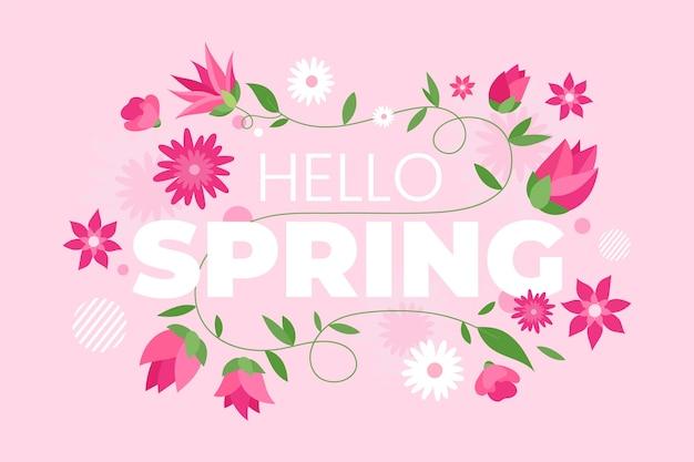 Handgetekende lente behang
