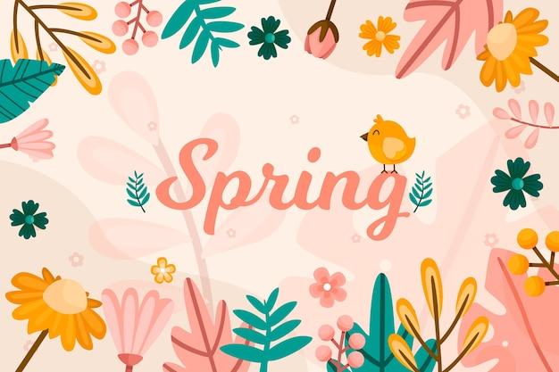 Handgetekende lente behangontwerp