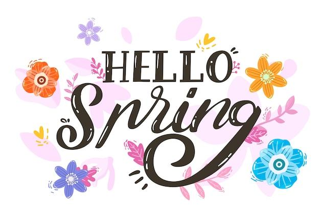 Handgetekende lente behangthema