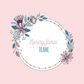 Handgetekende lente bloeiende bloemen frame