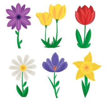 Handgetekende lente bloemen collectie