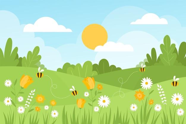 Handgetekende lente landschap