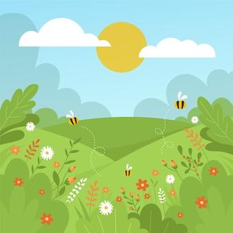Handgetekende lente landschapsthema