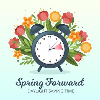 Handgetekende lente verandering illustratie met bloemen en klok