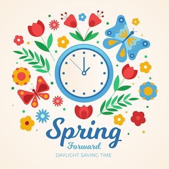 Handgetekende lente verandering illustratie met klok en bloemen