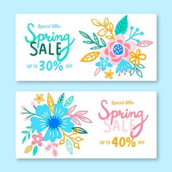 Handgetekende lente verkoop banner collectie ontwerp