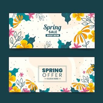 Handgetekende lente verkoop banner collectie thema