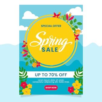 Handgetekende lente verkoop sjabloon folder
